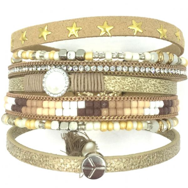 Multi strand cuff bracelet kit- golden beige - 7 strands 001